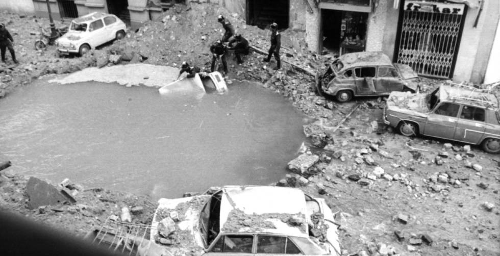 The aftermath of the assassination of Carrero Blanco in Marid in 1973.