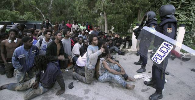Sub-Saharan Africans in Ceuta earlier this year.