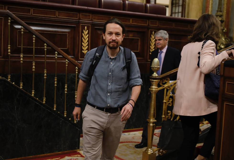 Podemos leader Pablo Iglesias in the Spanish Congress.