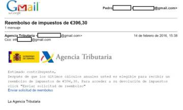 Captura de un email enviado durante la campaña de 'phishing' que suplantaba a la Agencia Tributaria.