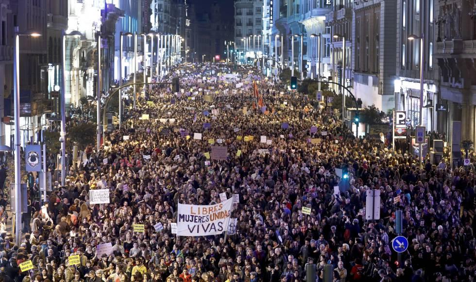 Manifestacion del 8 del Día Internacional de la mujer el pasado 8 de marzo en Madrid.