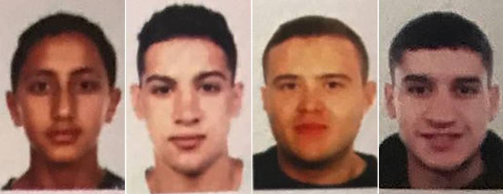 Los cuatros sospechosos que la policía vincula a los atentados de Cataluña.
