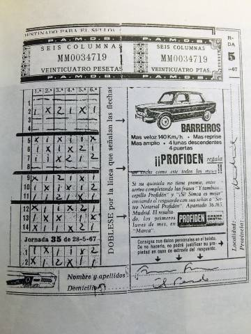 Boleto premiado de Franco reproducido en las páginas del libro 'La cara humana del caudillo', de Rogelio Baón.