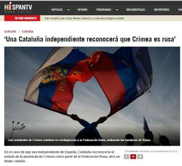 "A story published by 'Hispan TV' in 2016 with the headline ""An independent Catalonia will recognize Crimea as part of Russia."""