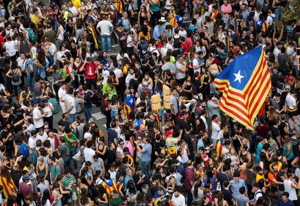 Plaza Universidad de Barcelona, durante una manifestación en apoyo al paro general.