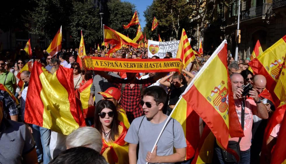 Manifestación contra la independencia de Cataluña.