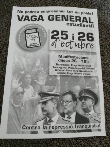 The flyer referencing Francoist repression promoting the student strike.