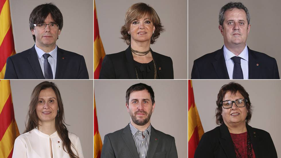 De izquierda a derecha y de arriba abajo, Carles Puigdemont, Meritxell Borràs, Joaquim Forn, Meritxell Serret, Antoni Comín, y Dolors Bassa.