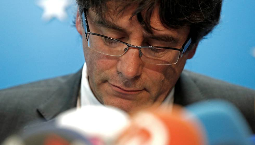 Carles Puigdemont attends a news conference in Brussels, Belgium.