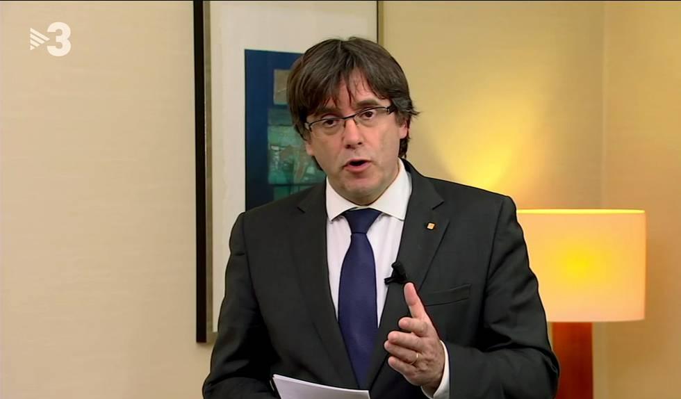 Mensaje grabado de Puigdemont que ha emitido TV3.