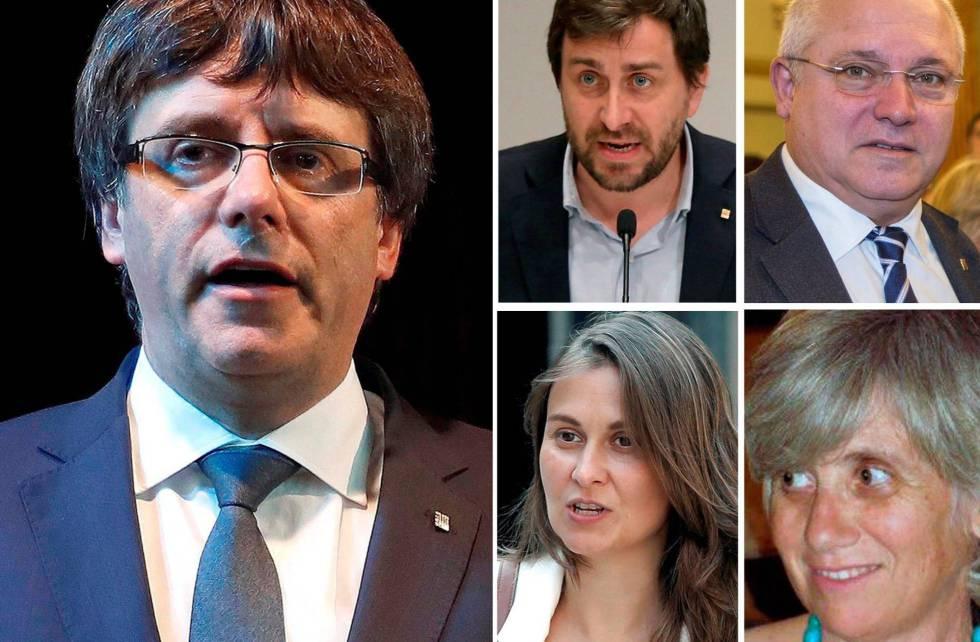 Carles Puigdemont,el exconsejero de Salud Antoni Comin, el de Cultura Lluís Puig, de Agricultura Meritxell Serret, y de Enseñanza, Clara Ponsatí.