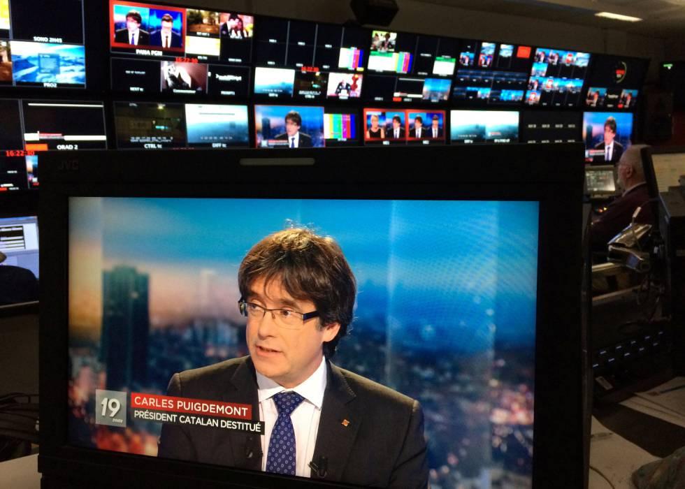 Entrevista a Carles Puigdemont el viernes en la televisión pública belga.