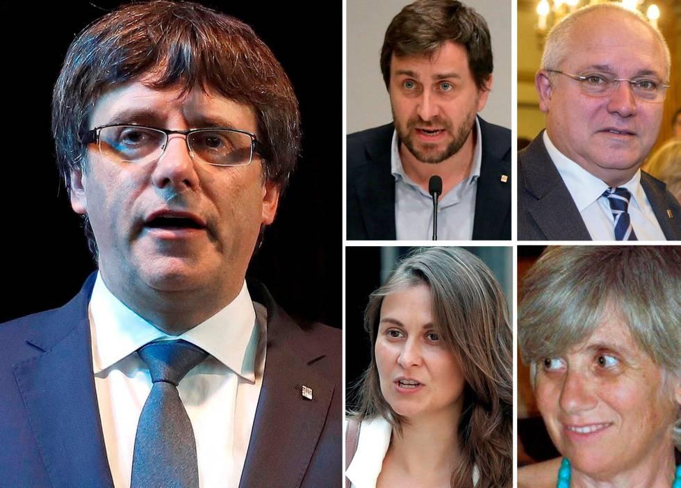 Carles Puigdemont y los cuatro exconsellers que viajaron con él a Bélgica.