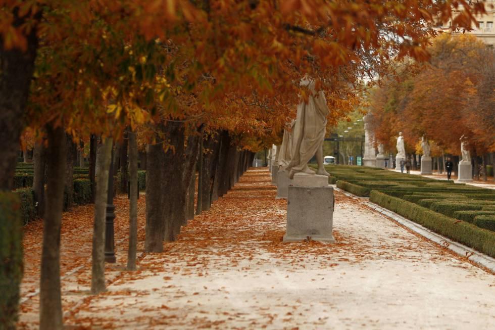 Vista otoñal en el parque madrileño de El Retiro.