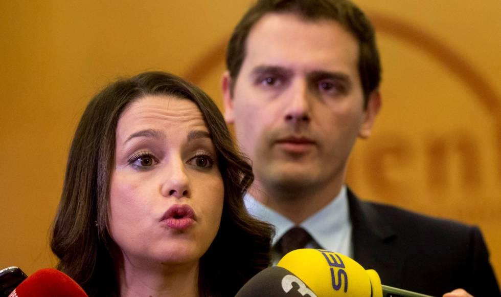 Inés Arrimadas y Albert Rivera, el martes en una reunión con empresarios en Barcelona.