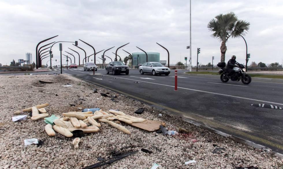 Lugar del accidente en la avenida de Miguel Induráin, en Murcia.
