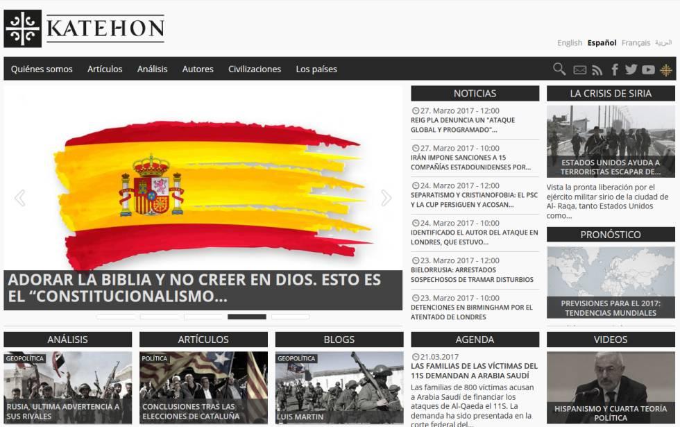 Captura de pantalla del portal Katehon.comes