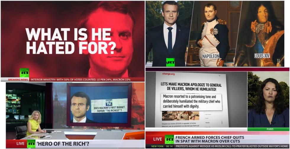 Ejemplos de la cobertura de RT sobre Macron.