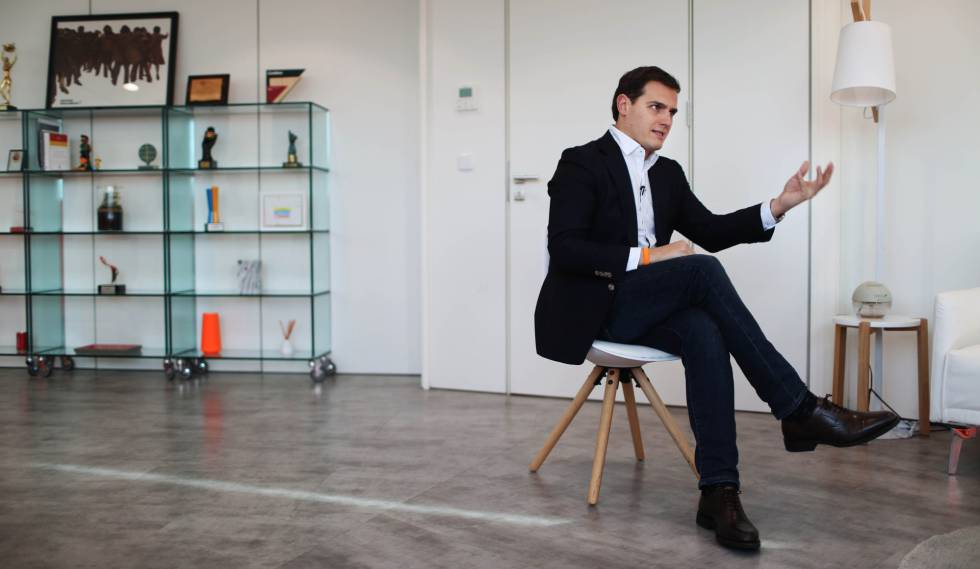 Albert Rivera during the interview from Ciudadanos headquarters.
