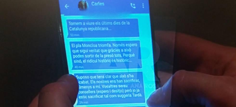 Pantallazo de los mensajes atribuidos a Puigdemont.