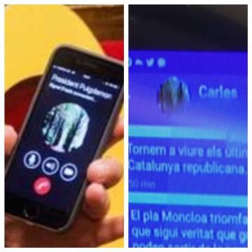 Imágenes de las fotos de Whatsapp de Carles Puigdemont y de Signal del mensaje recibido por Toni Comín.