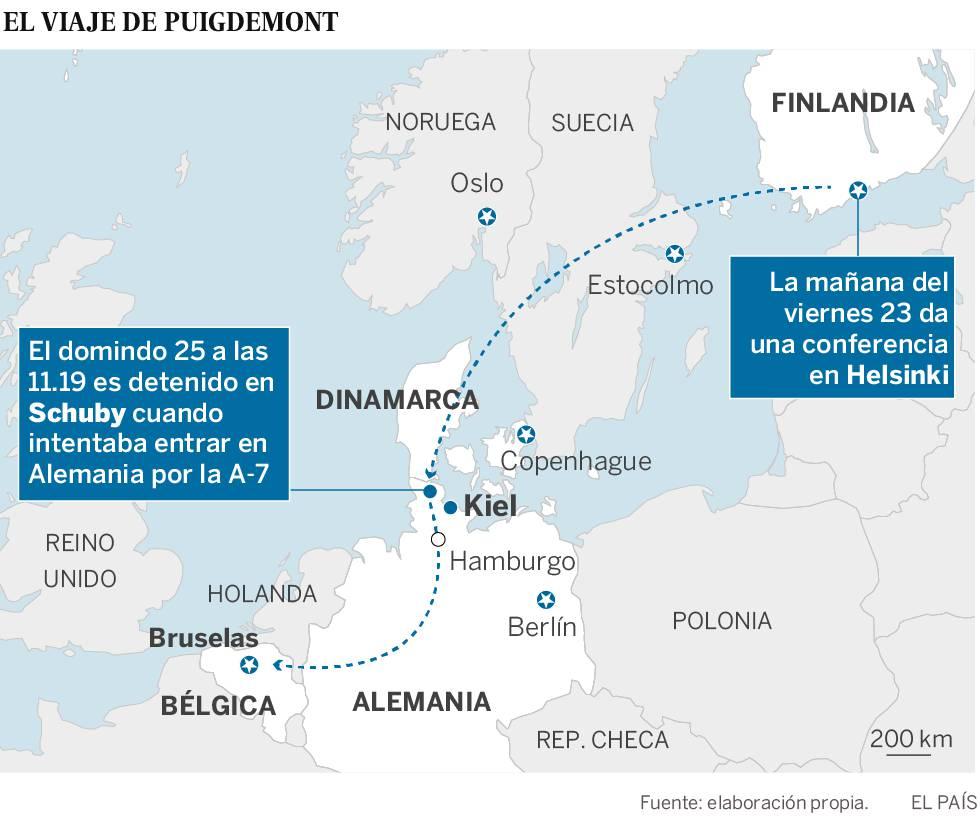 El CNI controló a Puigdemont desde su salida de Finlandia hasta su detención en Alemania
