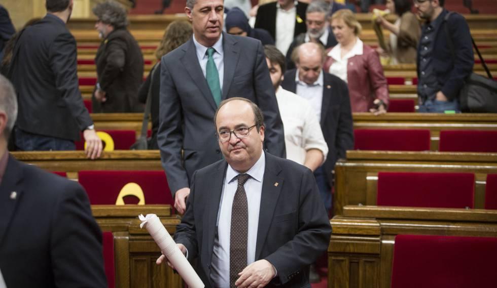 Iceta y García Albiol durante un Pleno en el Parlament.