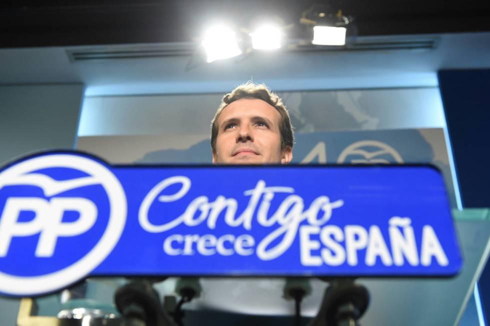 El vicesecretario de comunicación del Partido Popular, Pablo Casado, durante una rueda de prensa el martes.