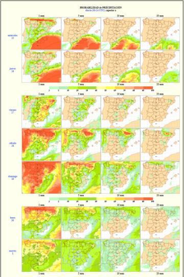 Los tonos rojizos indican alta probabilidad de lluvia. El sábado y el domingo, en buena parte del país. No se pueden descartar lluvias en casi ningún punto los próximos días.
