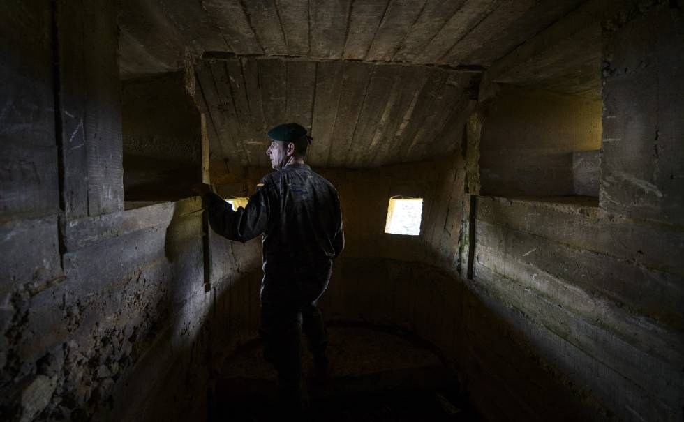 Sergeant Quirós in one of the bunkers.