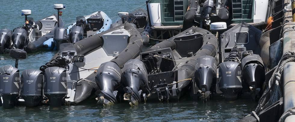 Embarcaciones amarradas en la base en Algeciras del Servicio Marítimo de la Guardia Civil.