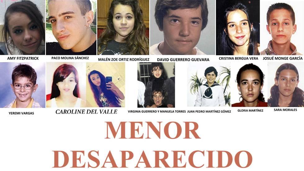 Fotos de los doce menores desaparecidos en España cuyos casos siguen sin resolverse.