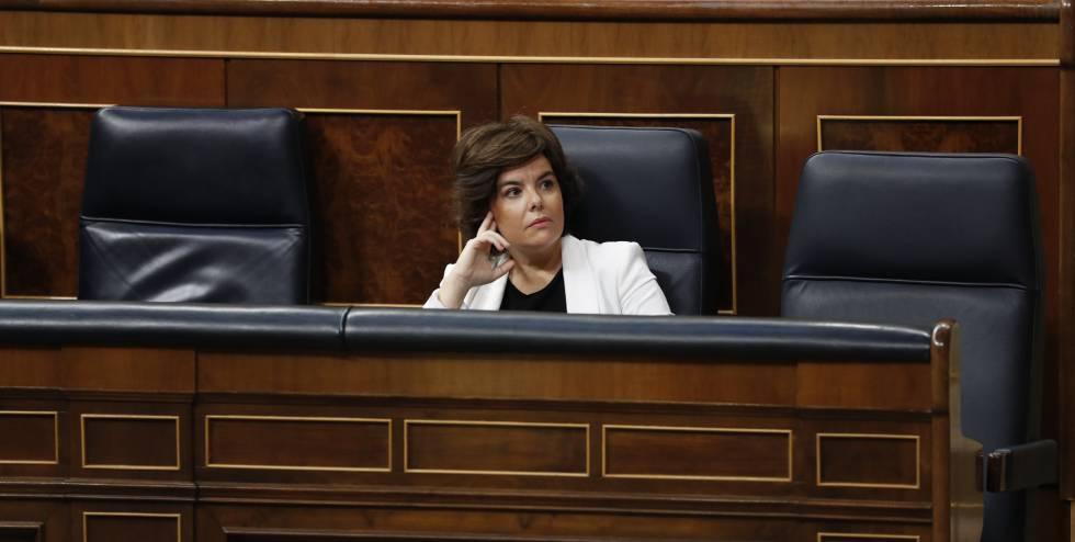 Soraya Sáenz de Santamaría, durante el debate de la moción de censura.