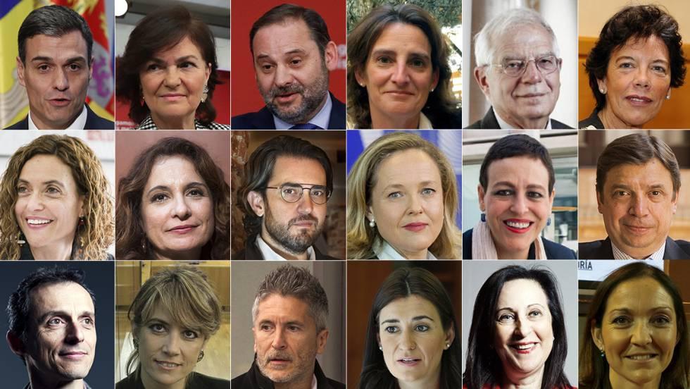 Los ministros del Gobierno de Pedro Sánchez