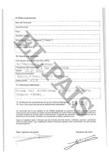 Documento confidencial que rellenó Marta Ferrusola para abrir su cuenta en la Banca Privada d'Andorra (BPA).