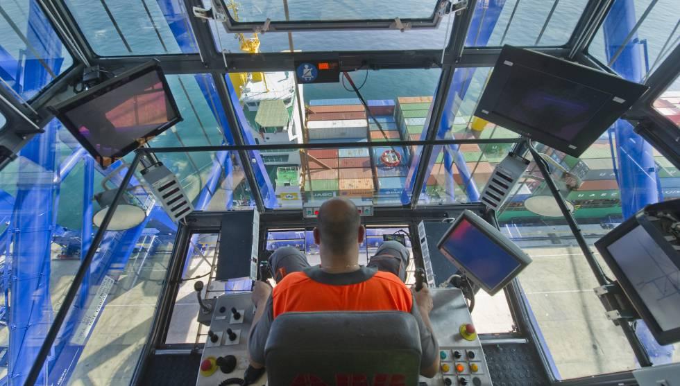 A crane operator at the port of Algeciras.