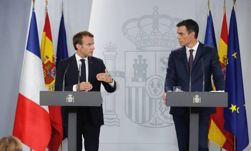 Emmanuelle Macron y Pedro Sánchez en La Moncloa.