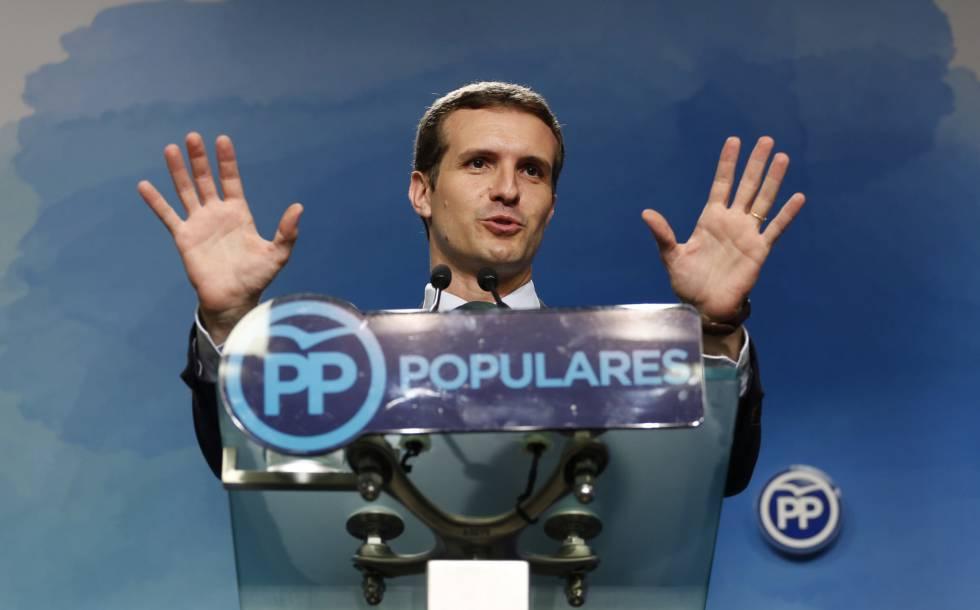 Pablo Casado, este lunes, en la sede del PP.