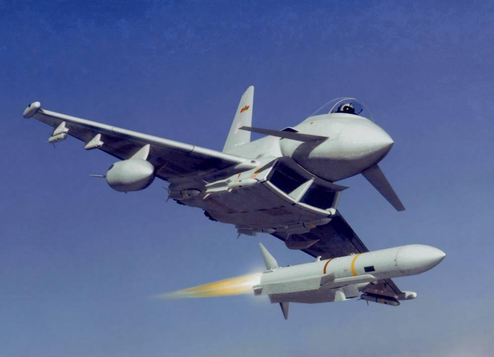 Simulación gráfica del disparo de un misil desde un avión de combate Eurofighter.rn rn