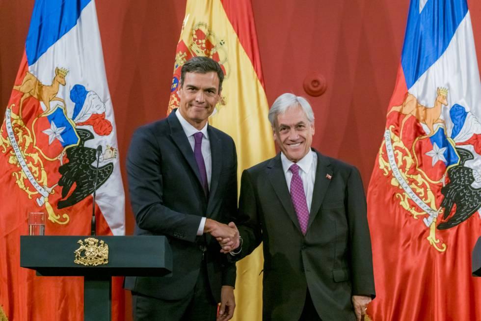 Pedro Sánchez con el presidente chileno Sebastián Piñera.