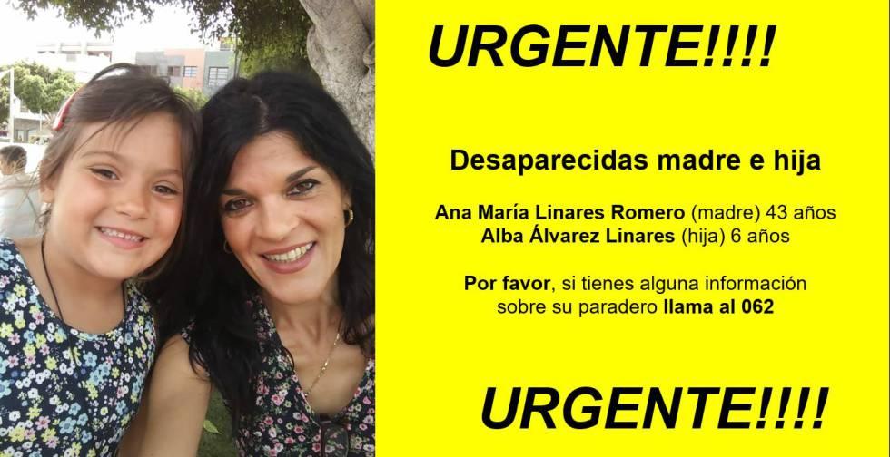 Imagen de la madre y la hija en los mensajes que la familia difundió para alertar de su desaparición.