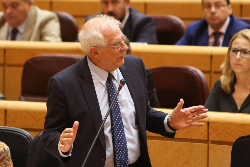El ministro de Exteriores Josep Borrell en el Senado.