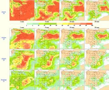 Mapa de lluvias previsto.