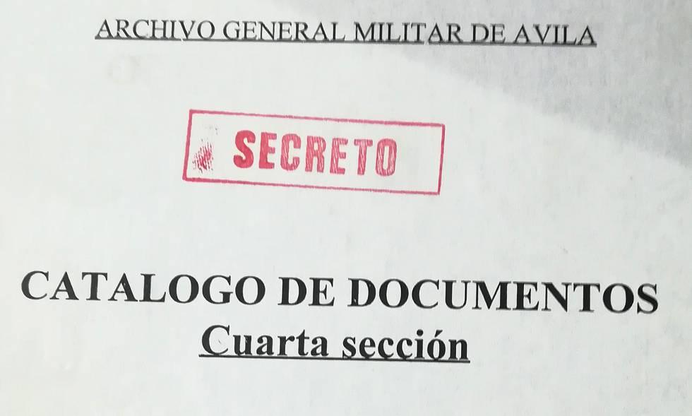 Copertina dell'indice delle scatole della Seconda Sezione nell'Archivo de Ávila.