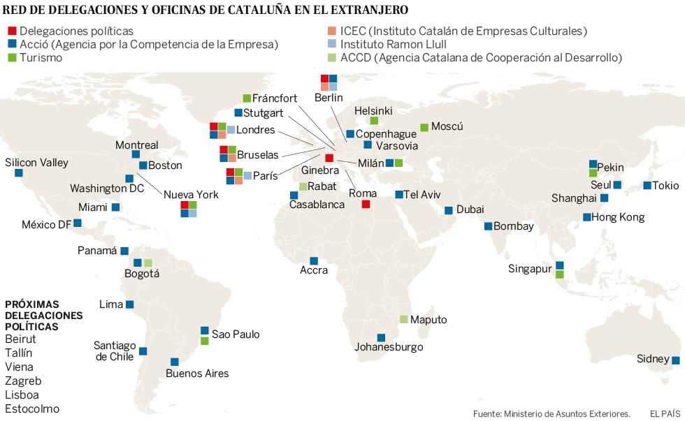 Exteriores vigila las 'embajadas' catalanas reabiertas tras levantar el 155