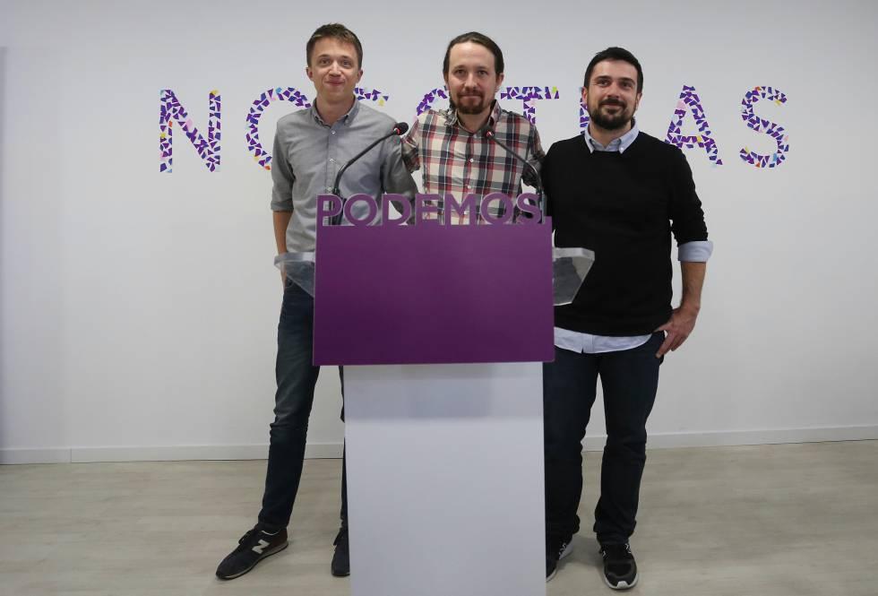 Errejón, Iglesias y Espinar en la presentación de la lista unitaria a la candidatura de la Comunidad de Madrid el pasado abril.
