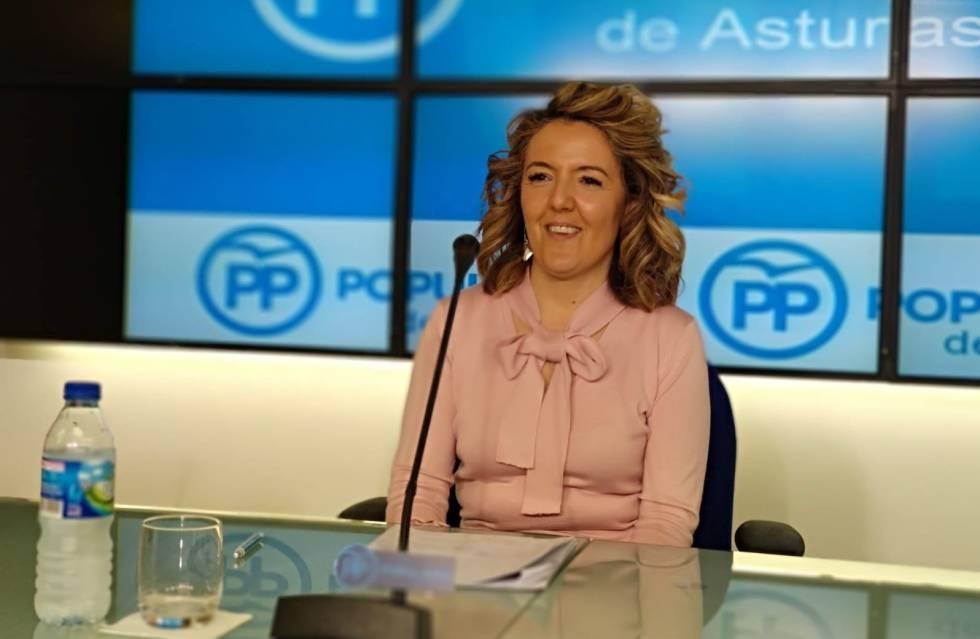 La candidata del PP a la presidencia del Principado, Teresa Mallada, el pasado 15 de marzo
