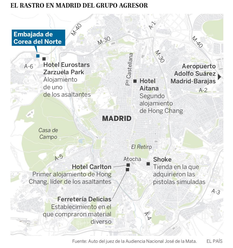 El juez ordena detener a dos asaltantes de la Embajada de Corea del Norte en Madrid que huyeron a Estados Unidos