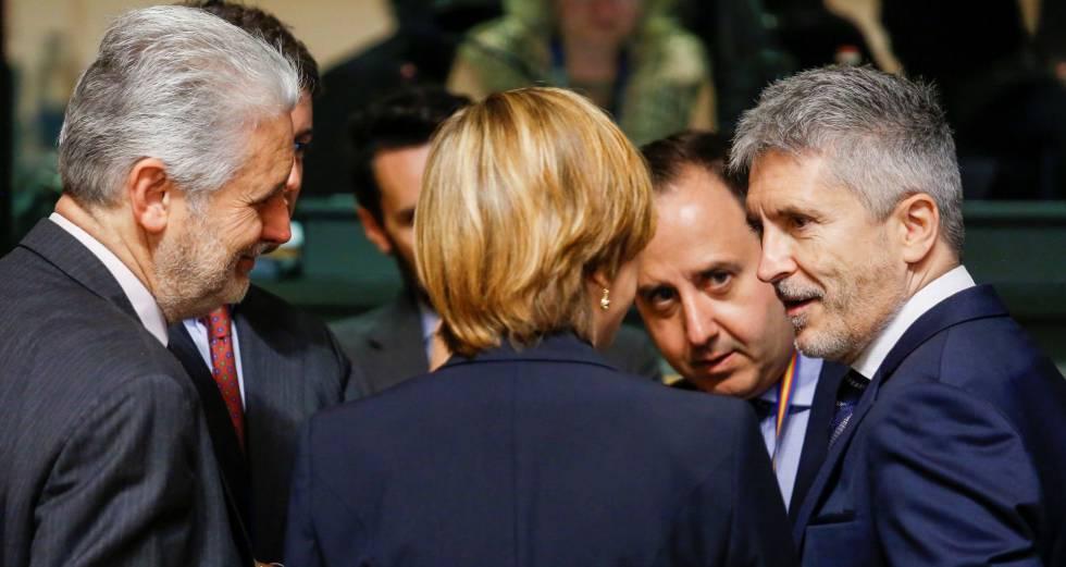 El ministro de Interior, Fernando Grande-Marlaska, en la reunión con sus homólogos europeos, el pasado día 7, en Luxemburgo.