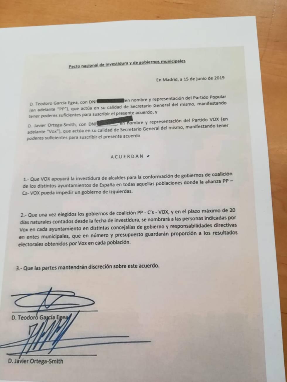 Vox renuncia a ocupar cargos en los Ayuntamientos en los que le veta Ciudadanos